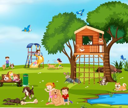 Children playing with pets in the park illustration