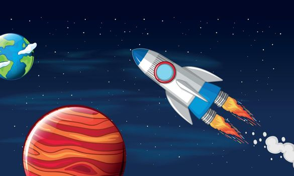 A rocket travel in space illustration