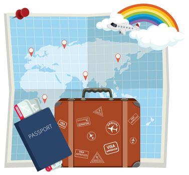 Travel element on map illustration