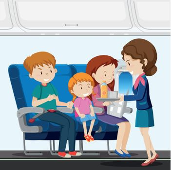 A family on airplane illustration
