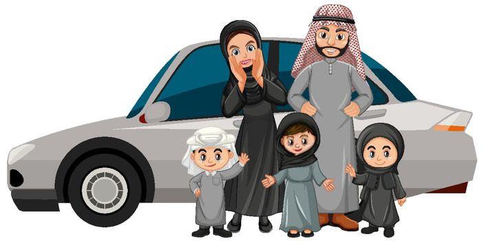 Arab family on holiday illustration