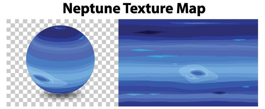 Neptune planet on transparent with Neptune texture map illustration