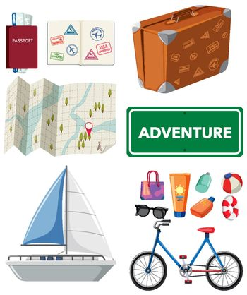 Travel set with transportations and other items illustration