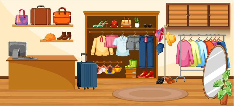 Fashion clothes store background illustration