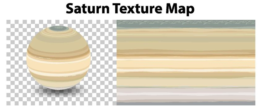 Saturn planet on transparent with Saturn texture map illustration