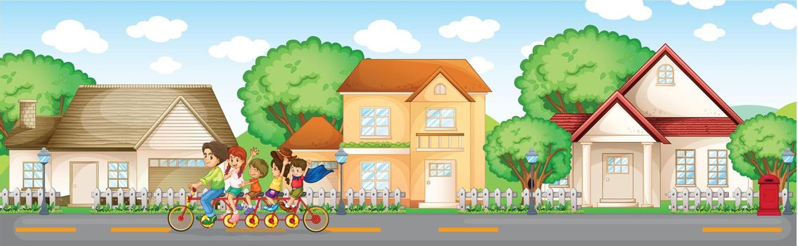 Illustration of family in the suburbs