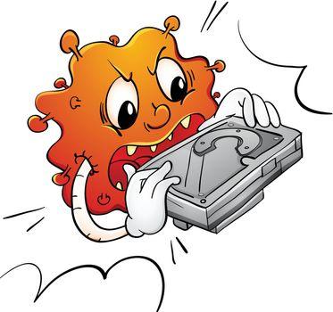Illustration of a virus destroying a hard disk