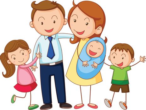 illustration of a family on a white background