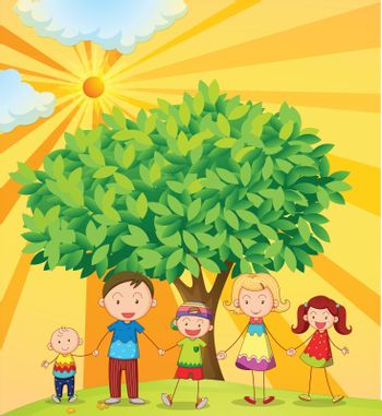 illustration of family holding hands under the tree