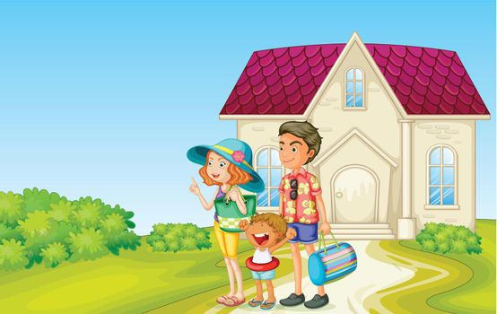 illustration of a family in front of house with bags