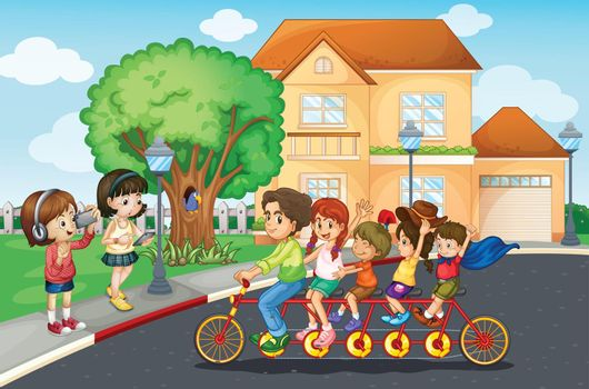 Illustration of a family riding a bicycle
