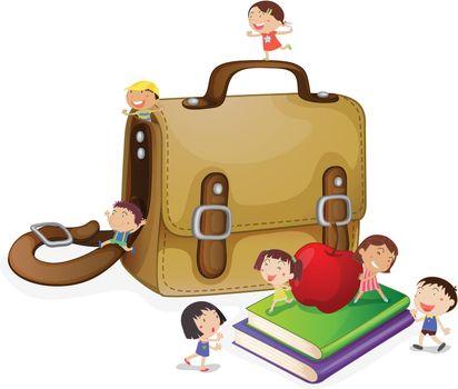 Illustration of small kids arounf a schoolbag