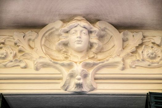Beautiful old carved stone facade in Madrid