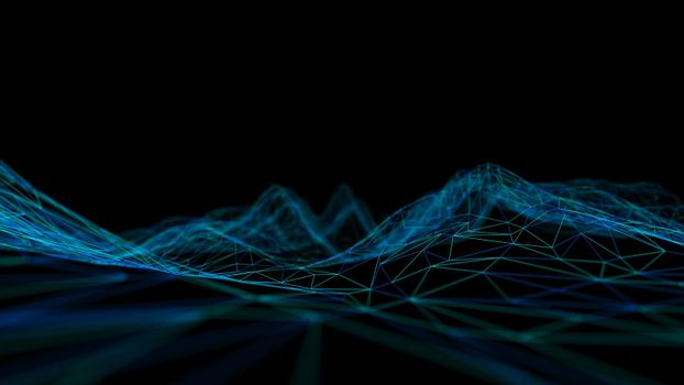 Blue technology background. Blockchain technology 3d .